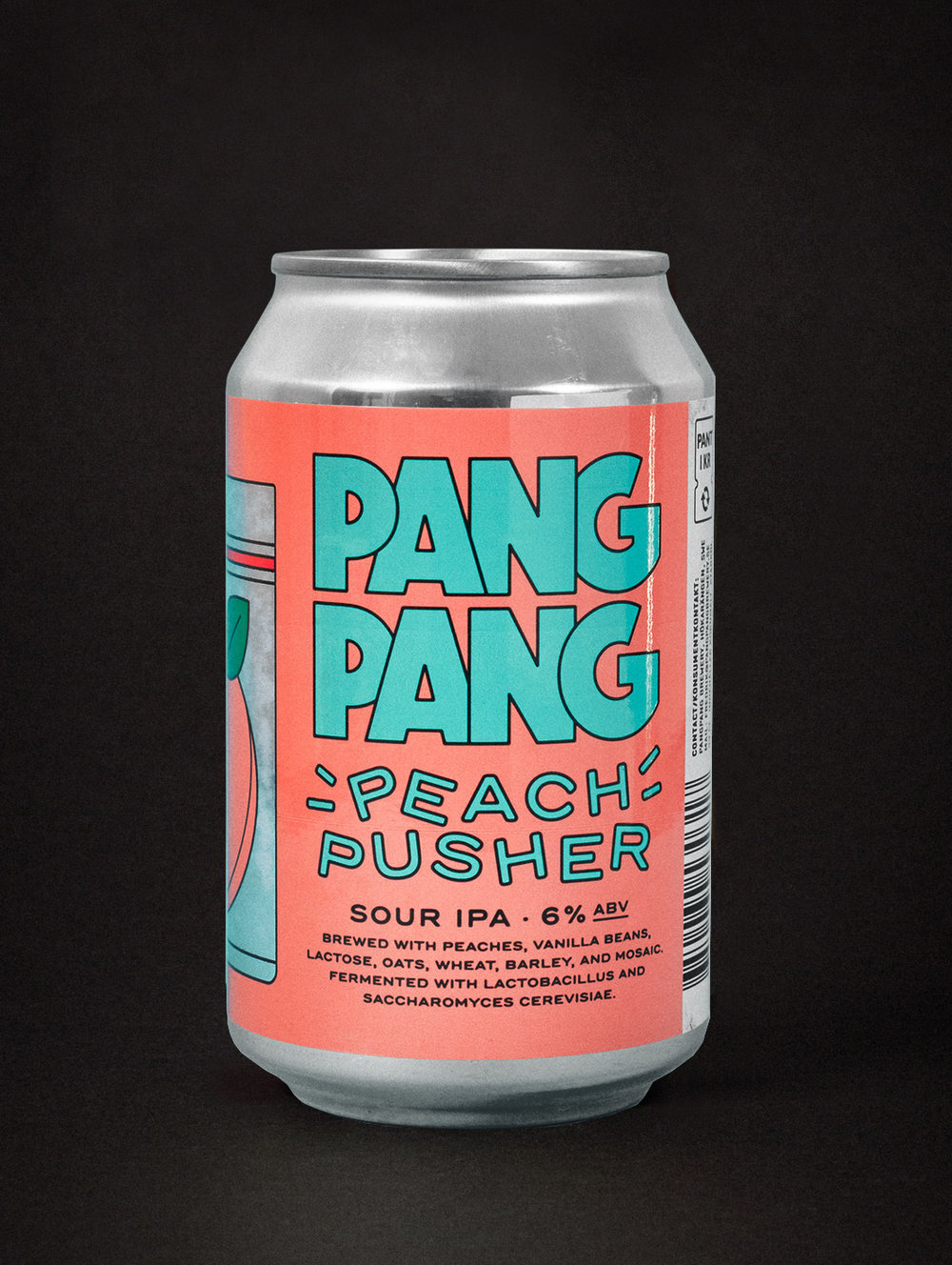 PangPang Peach Pusher  Sour IPA brewed with peaches and vanilla beans. 6,0% · 33 centiliter