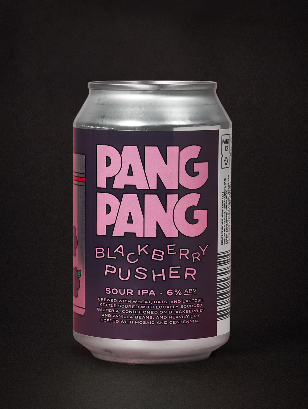 PangPang Blackberry Pusher  Sour IPA brewed with Blackberries and vanilla beans. 6,0% · 33 centiliter