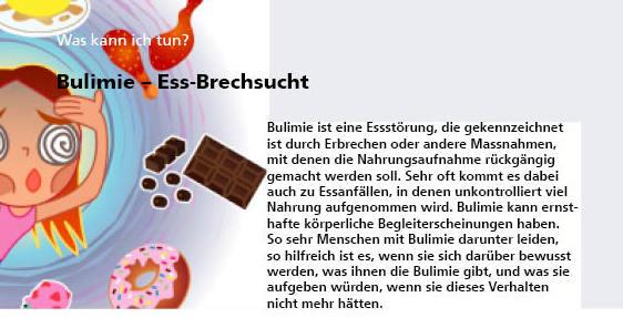 Selbsthilfe/Infoflyer: Bulimie - Sie können kostenlos bei uns bezogen werden.>Bestellung(Porto- und Verpackungskosten ab 50 Stk. Fr. 5.- )