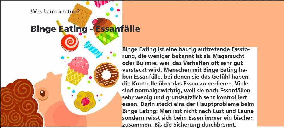 Selbsthilfe/Infoflyer: Binge Eating - Sie können kostenlos bei uns bezogen werden.>Bestellung(Porto- und Verpackungskosten ab 50 Stk. Fr. 5.- )