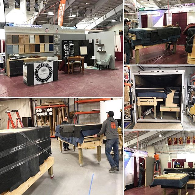 Big day today! Everything was broke down from the mock-up at the shop, loaded in the trailer and assembled at the Central Michigan Home Show. The quartz tops get delivered tomorrow, then a few finishing details and @cross_and_lincoln will be ready for the weekend! @trademark_custom_builders @hba_cm  #homeshow #customcabinets #cabinets #customkitchen #kitchendesign #vanities #kitchencabinets #countertops #quartzcountertops