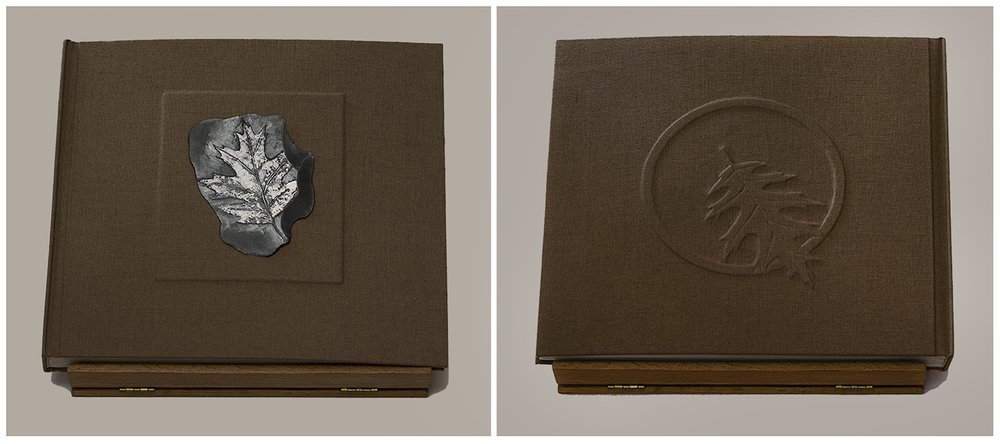 The finished linen-bound book  with a stone painted by Kim Schrag embedded in the cover and a high relief echo of this same design on the back