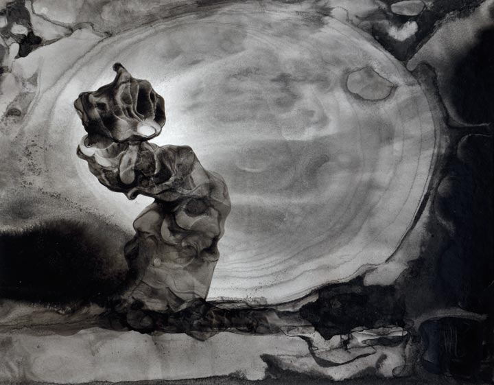 Sumi ink painting on board by Fernando Llosa