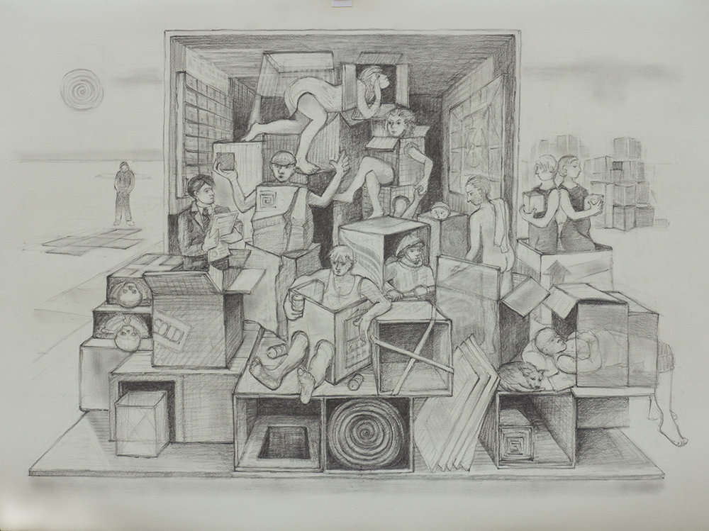 Everyone In a Box                                        Graphite drawing by  Kim Schrag                                              www.kimschrag.com