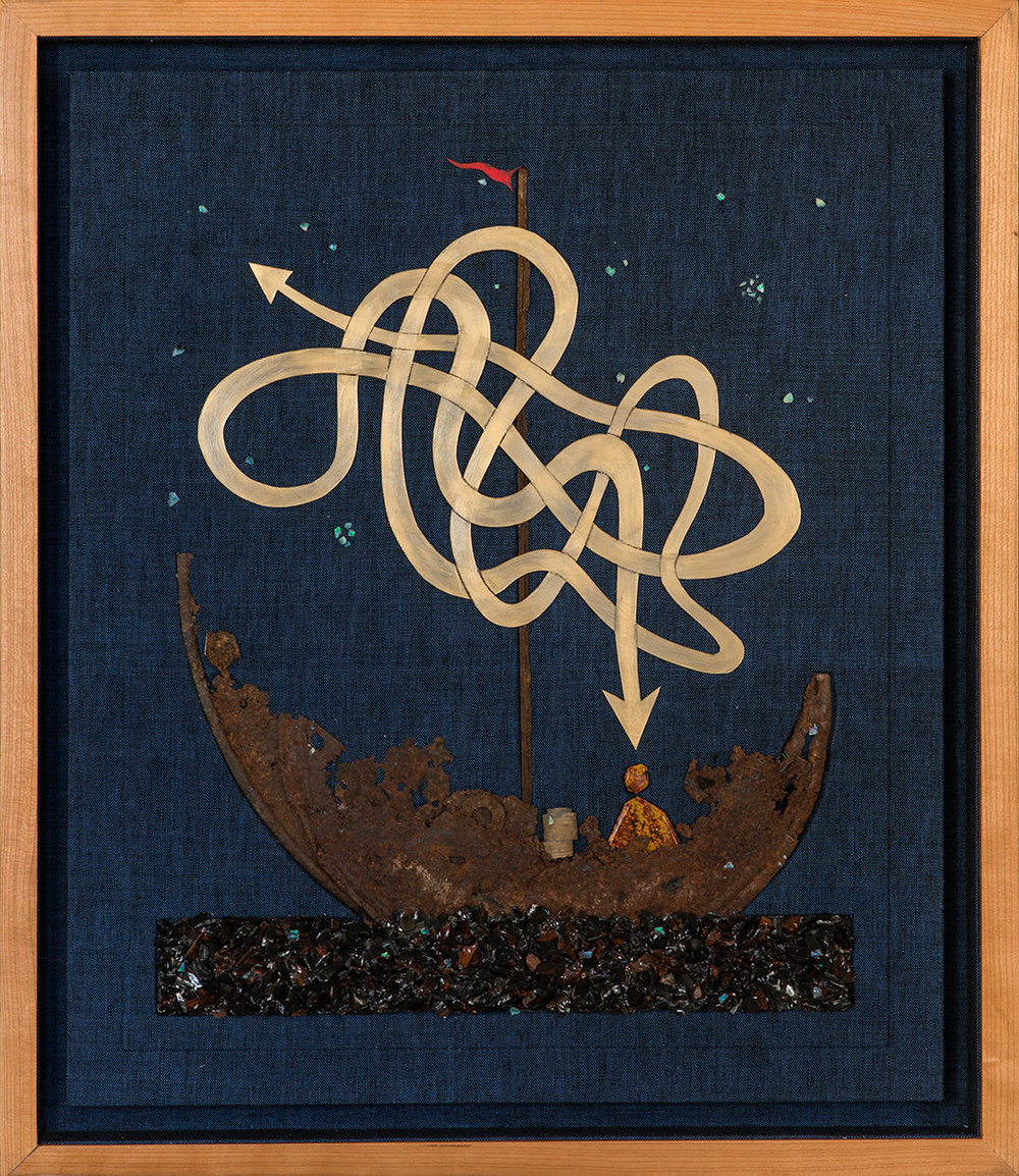 "JOURNEY BEYOND SEPARATION   Rusted vehicular droppings, obsidian fragments, painted Yupo paper, ocean jasper, crinoid fossil, crushed opals, and linen, in a lined cherry shadow box.    (23 3/4"" x 20 3/4"")"
