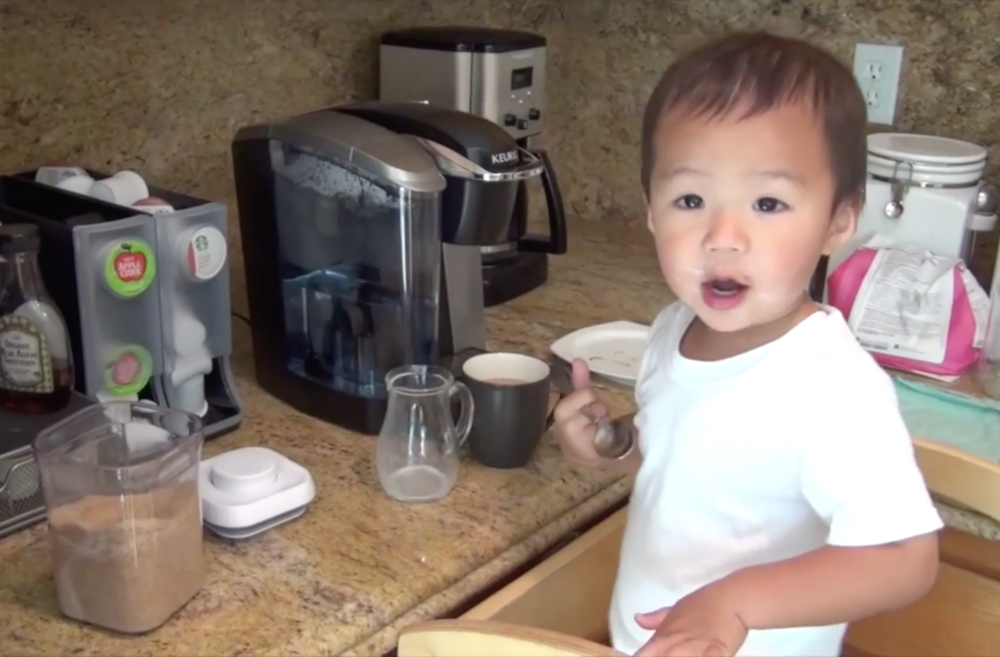 CARTER (AGE 2) MAKES COFFEE Two-year-old Carter makes coffee for his dad,and then cleans up afterward.