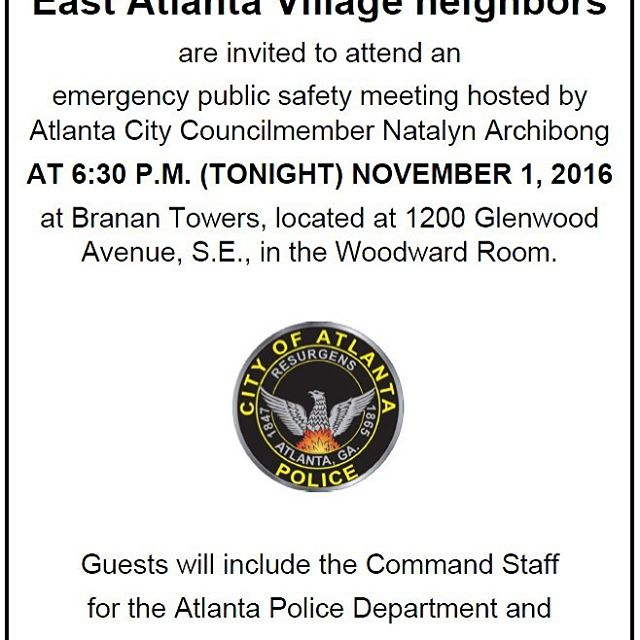 Emergency Public Safety Meeting in East Atlanta - 11/1 at 6:30pm