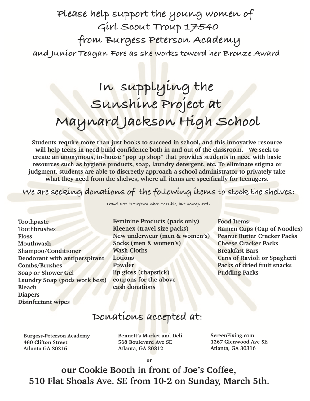 Sunshine Project at Maynard Jackson High School