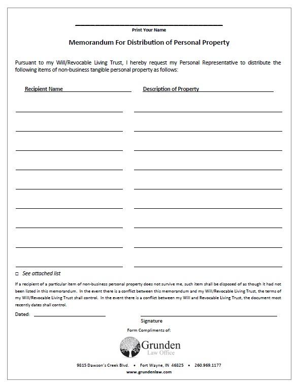 Memorandum for Distribution of Personal Property