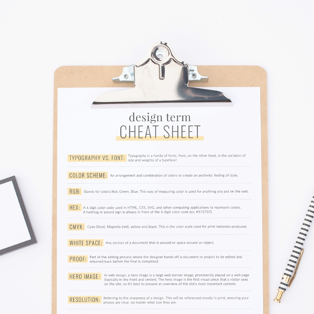 Cheat Sheet: Common Design Terms — The Busy Bee