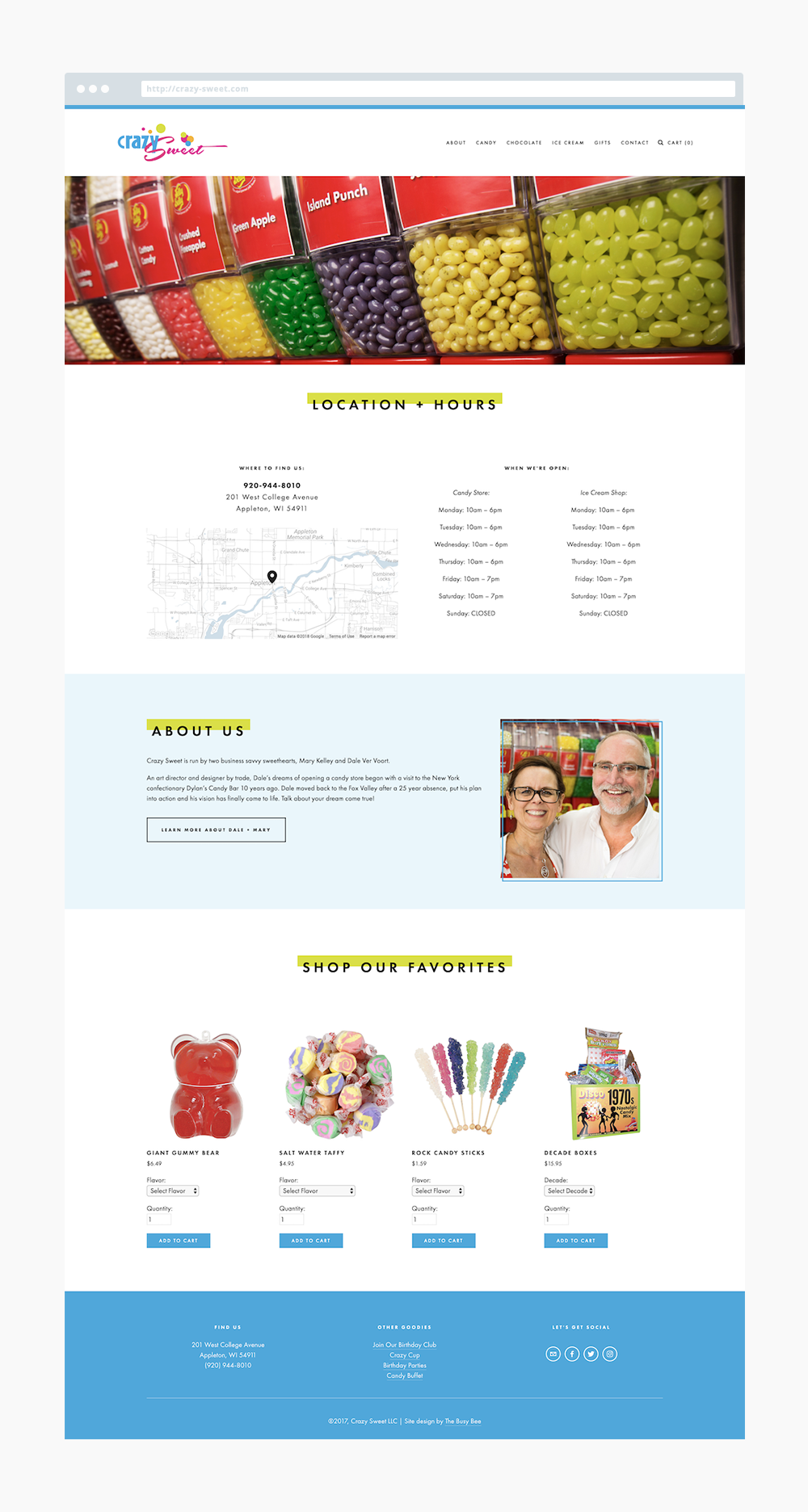 The Busy Bee Squarespace Website Crazy Sweet Appleton Wisconsin