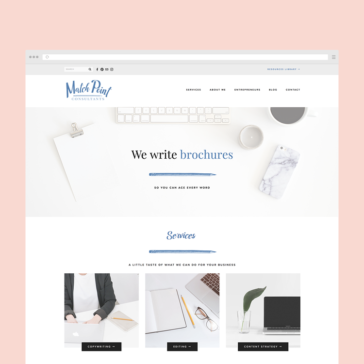 The Busy Bee Portfolio Custom Squarespace Website Match Point Consultants Cropped Browser