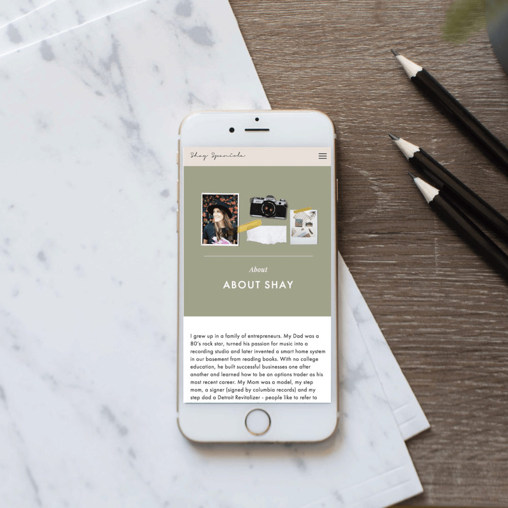 The Busy Bee Megan Baylerian Squarespace Website Shay Spaniola Mobile Design