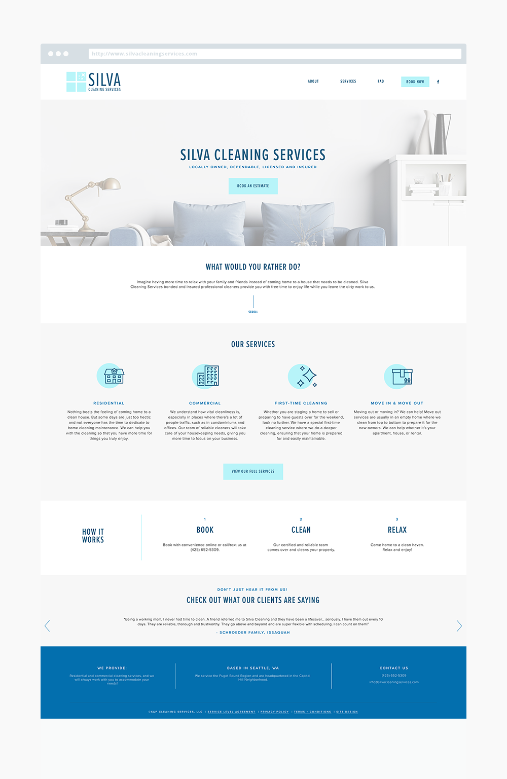 The Busy Bee Portfolio Custom Squarespace Website Silva Cleaning Services Homepage
