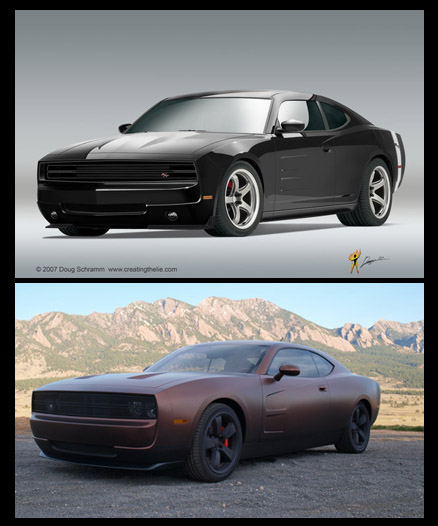 The top is the render and the bottom is the car built from the render.