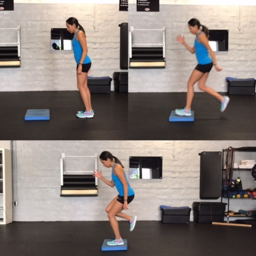 Forward Step to Single Leg Balance   Step forward to single leg balance, or you can do a forward hop to balance.  Stick the landing and hold for 5-10 seconds, and Repeat x20   Trunk, hips, and knees should be stable and steady.
