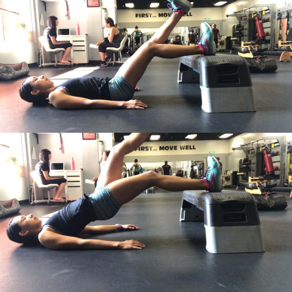 Concentric step hamstring bridge