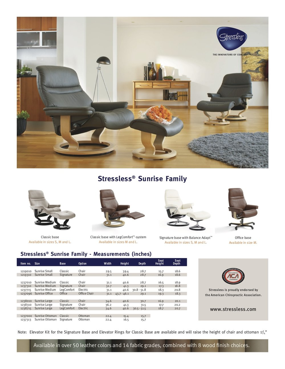Stressless Sunrise Dimensions