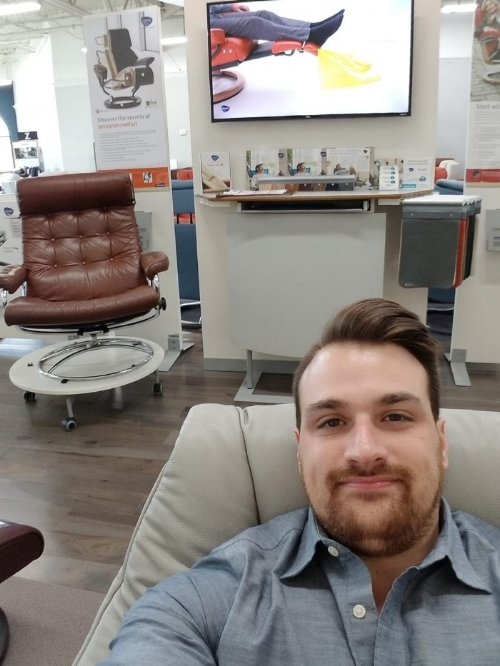 Michael Relaxing In His Favorite Stressless Recliner: Stressless Live (Notice the Vintage Stressless in the background?)