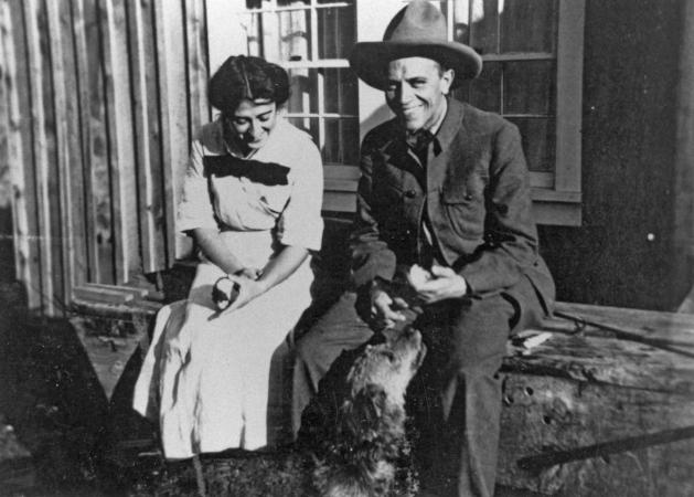 """Aldo & Estella Leopold at """"Mi Casita"""" in Tres Piedras, New Mexico, 1912. Photo courtesy of the Aldo Leopold Foundation."""
