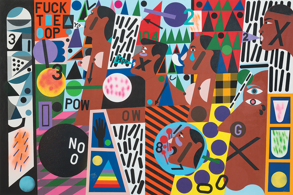 Nina Chanel Abney, Untitled (FUCK T*E *OP) , 2014