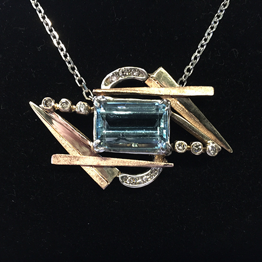 Aquamarine and Diamond Necklace in Tri-Color Gold.png