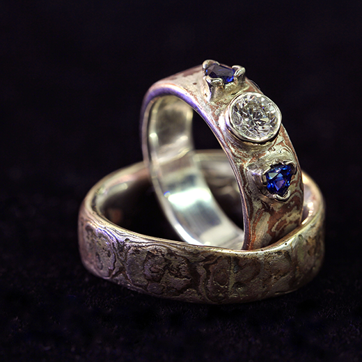 Argentium Sterling Silver and Copper Mokume Gane Wedding Set, Diamond and Sapphire Engagement Ring.png