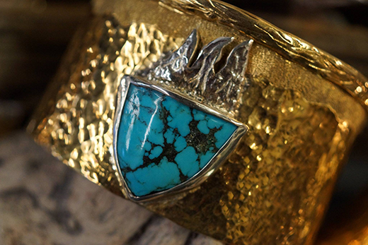 Hammered Bronze Cuff Bracelet with Kingman Turquoise and Sterling Silver.png