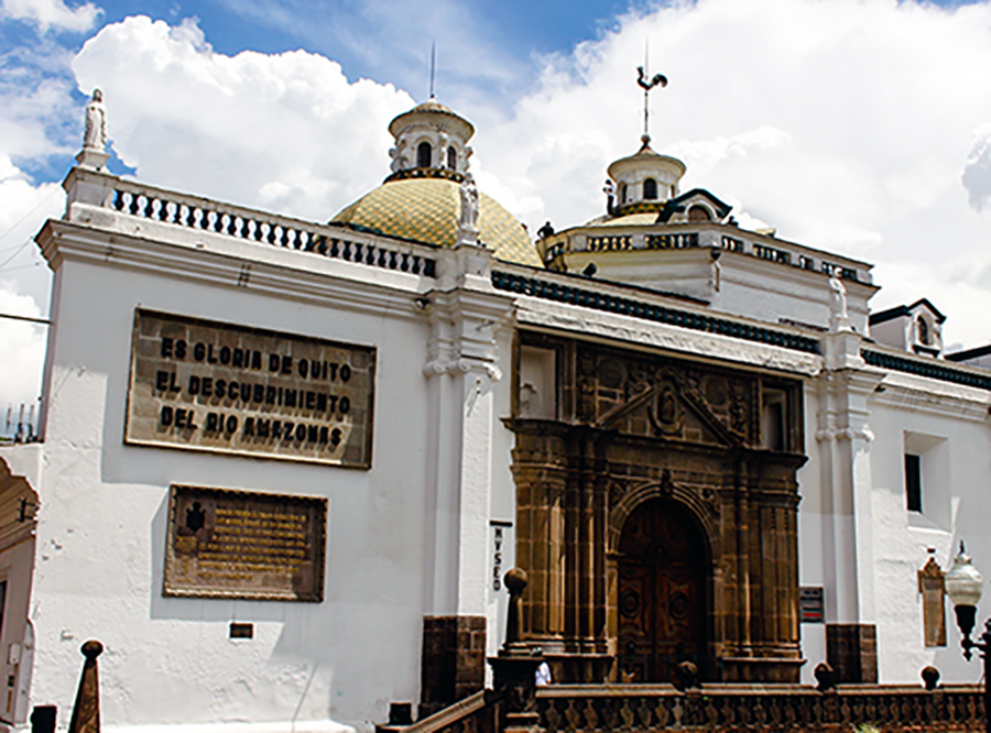 "Loosely translated, the plaque on the cathedral at the Plaza de la Independencia, in the capital city's Centro Historico, reads: ""Quito's glory is the discovery of the Amazon River.""    (Sierra Bilton)"