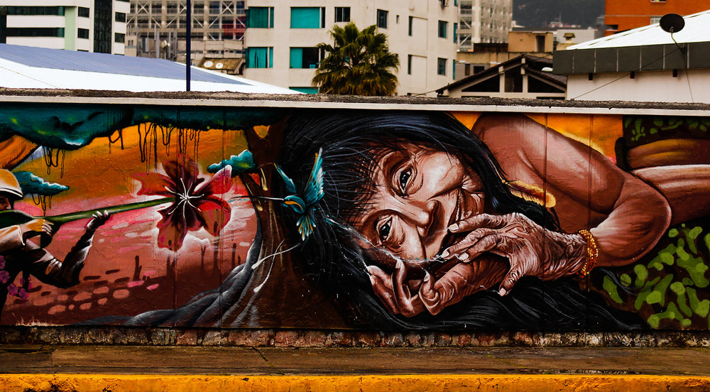 Many of the Quito murals express political ideals, acting as a mute but powerful form of resistance.    (Sierra Bilton)