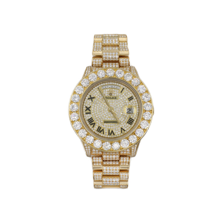 Rolex Day Date II 41mm President - 18kt Yellow Gold with White Diamonds