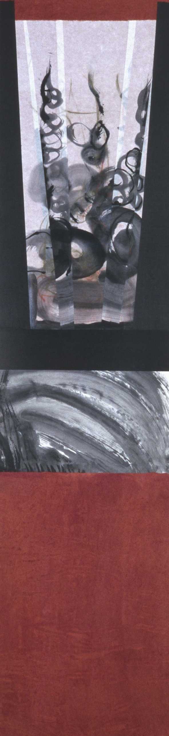 "#98-01 pastel, ink on paper 56""x13"" 1998 NFS"