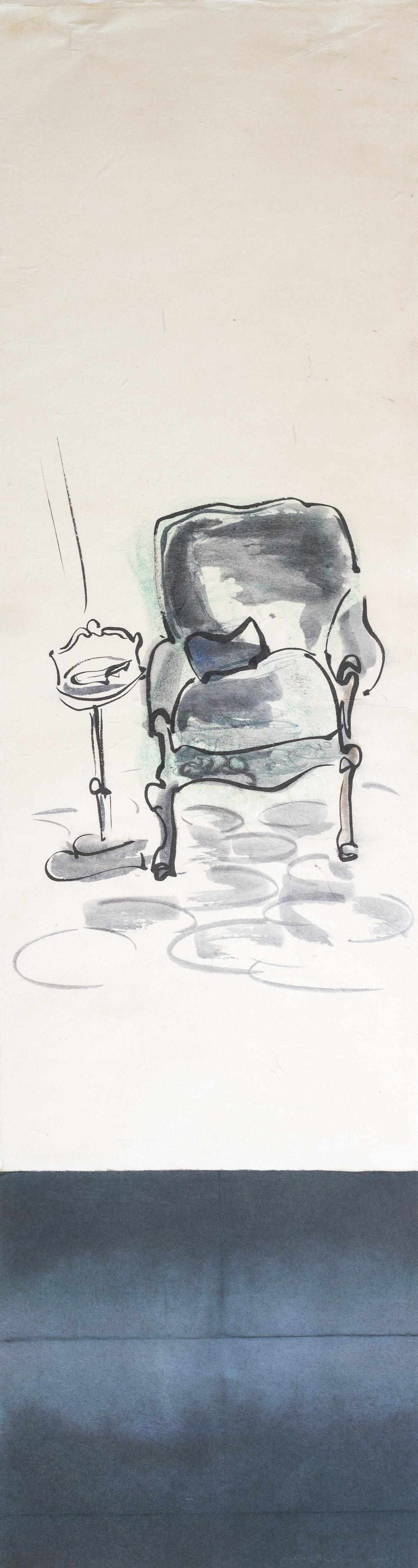 """Grandpop's chair"" pastel, ink on paper 42""x11"" 2002 NFS"