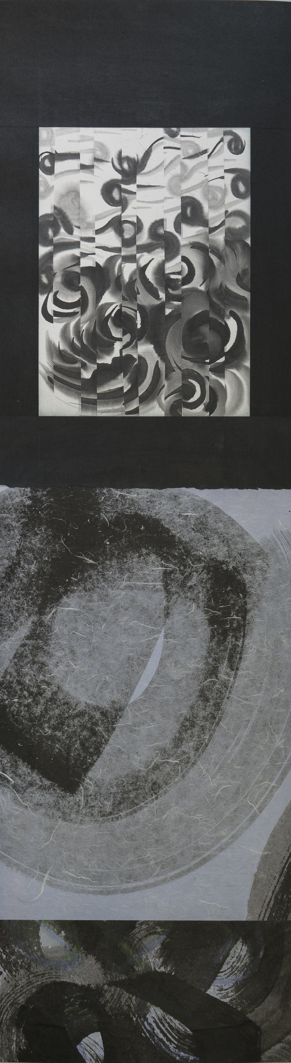 """#17-08 pastel, ink on paper, 43""""x12"""" 2017"""