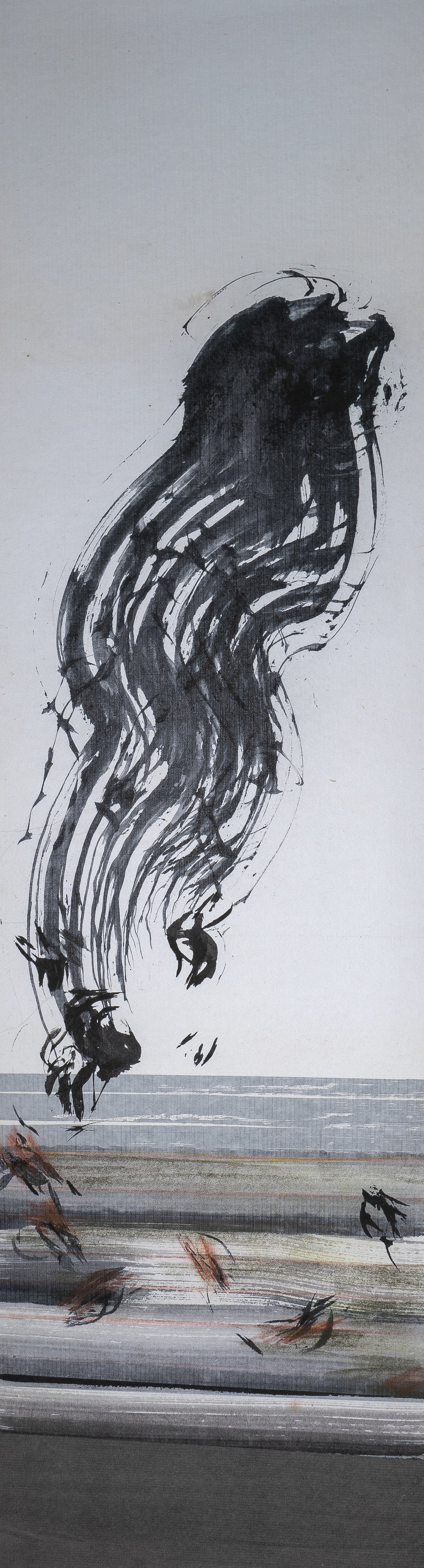 """#18-01 pastel, ink on paper, 44""""x12"""", 2018"""