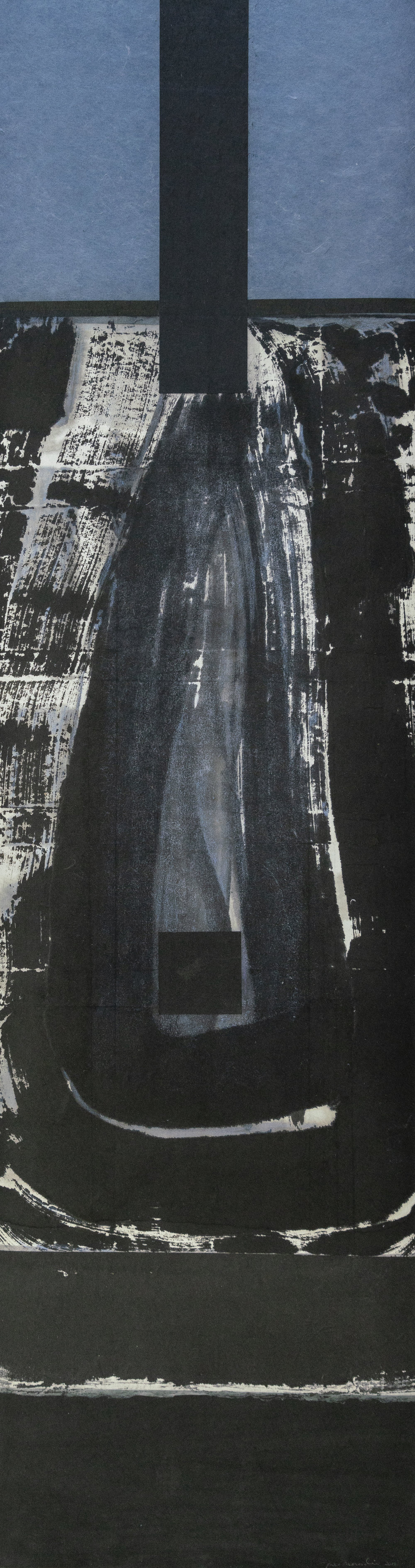 """#18-07 pastel, ink on paper, 44""""x12"""" 2018"""