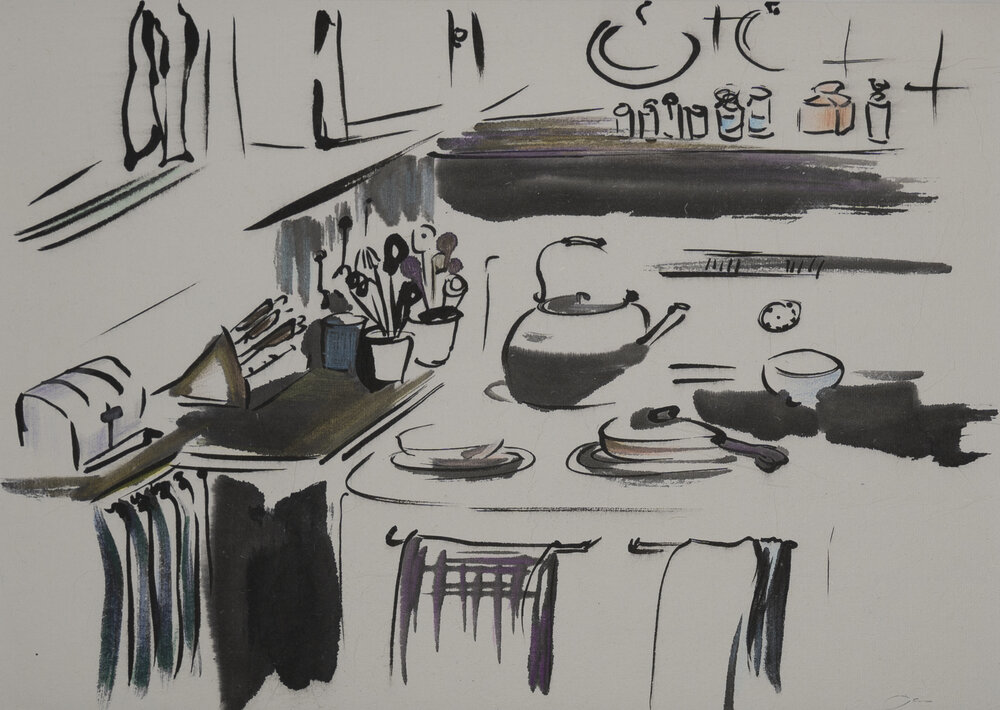 """""""SallyLou's Kitchen""""  color pencil, ink on paper 12""""x9"""" 2014"""