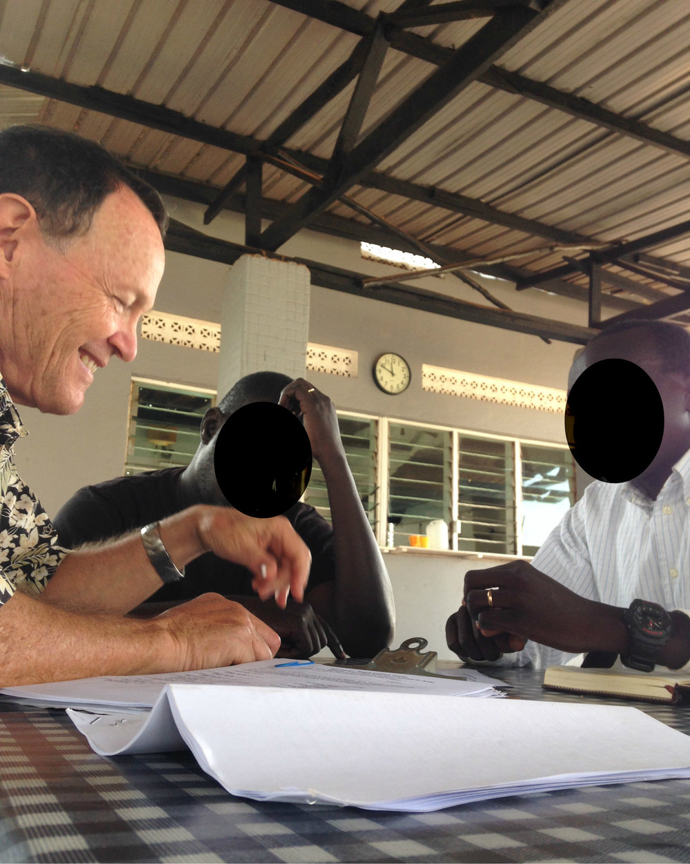 Dave Eby meeting with two South Sudanese Presbyterian Pastors who had begun their own theological institute back in Sudan to train other pastors, elders, and lay people