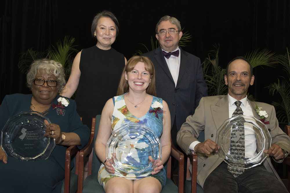 Angelica Berrie, president of The Russell Berrie Foundation, and Dr. Peter Mercer, president of Ramapo College, with the top three honorees: Left to right, the Rev. Mildred Farrar, Melissa Gertz and Pino Rodriguez.