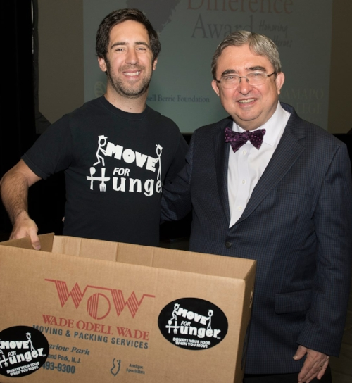 Adam Lowy (left), the founder and executive director of Move For Hunger, who delivered the keynote address at the 22nd annual Russ Berrie Making a Difference Awards ceremony, with Dr. Peter Mercer, the president of Ramapo College.