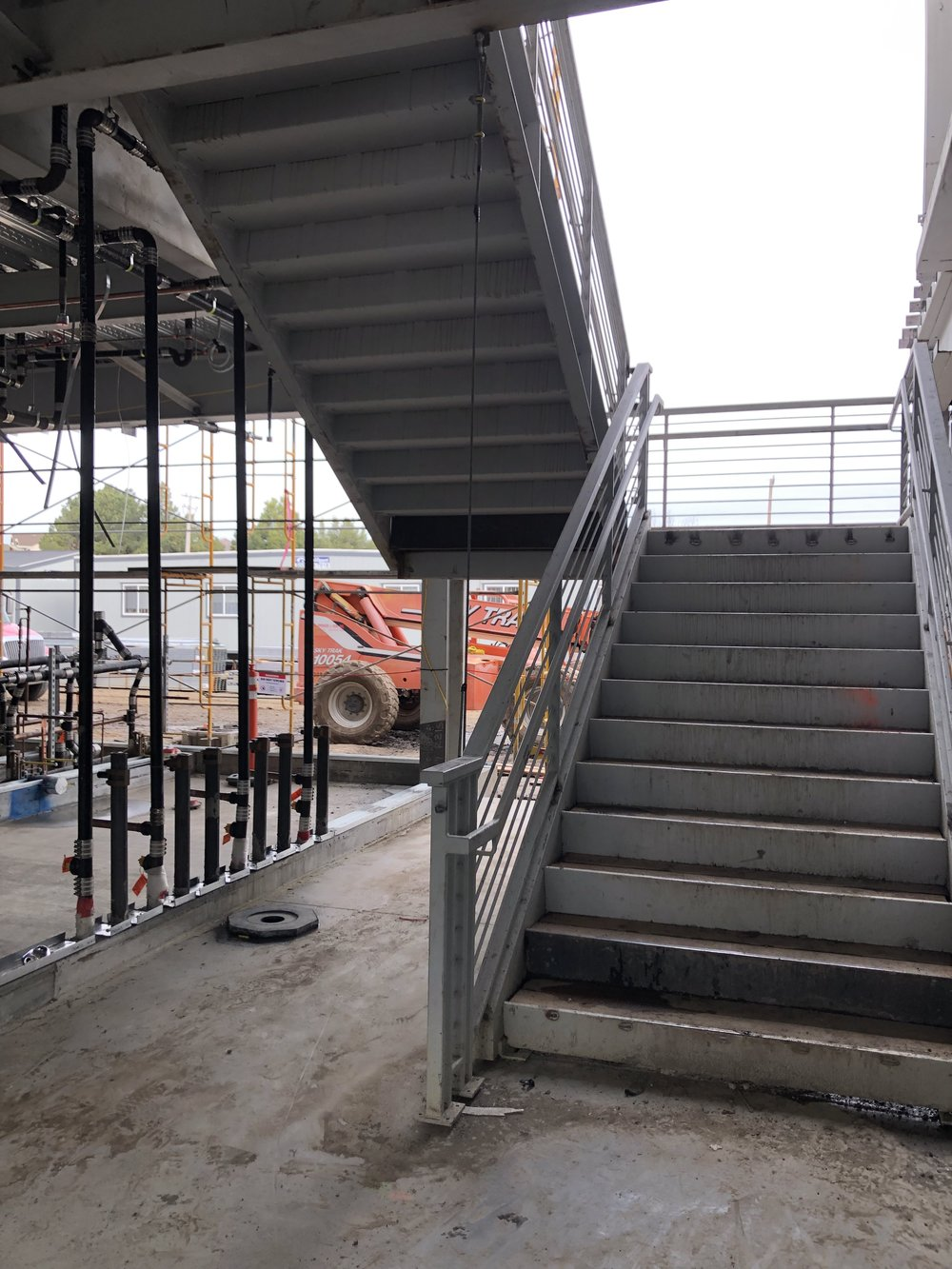 Staircase to the front parking lot…new middle school building -