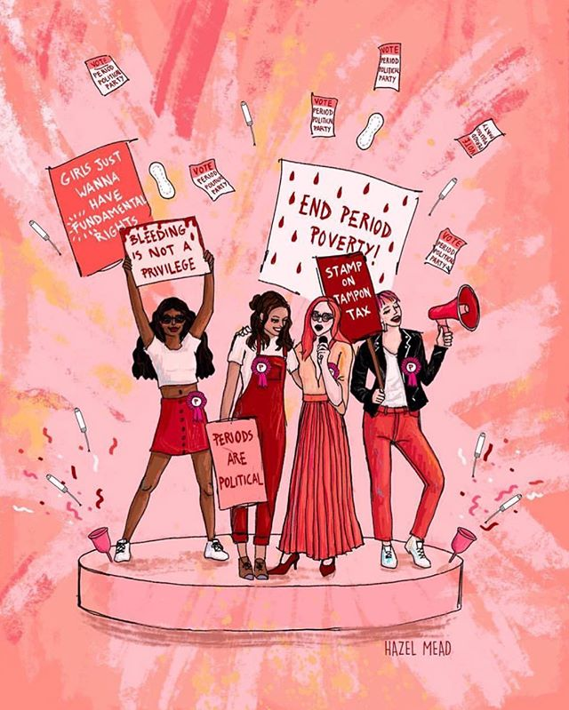 ✨ARTIST SPOTLIGHT OF THE WEEK✨ Today's repost is artwork by @hazel.mead and pictures awesome period advocates! We love the artwork about the #menstrualmovement and would love you all to share your art by using #periodart🎨 You could be featured on our artist spotlights in the future!