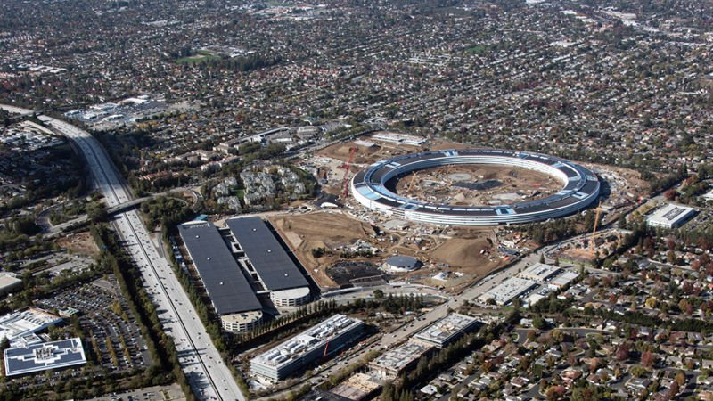 "Apple's headquarters, nicknamed the ""Spaceship Campus"" still under construction."
