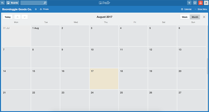 Editorial blog content calendar Trello