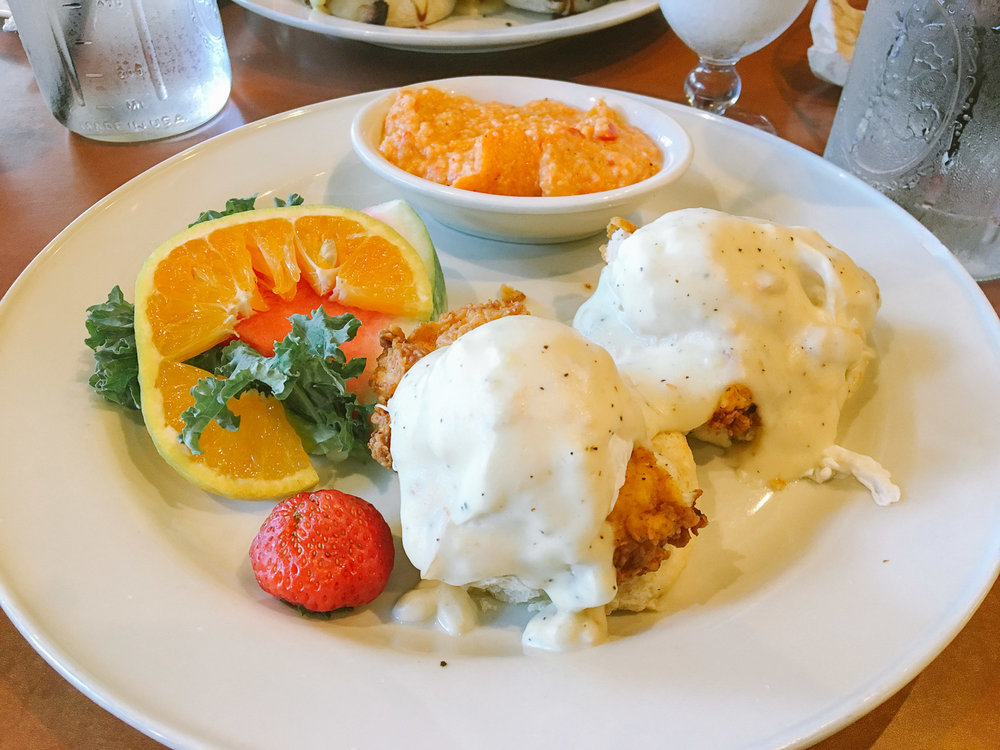 fried chicken eggs benedict