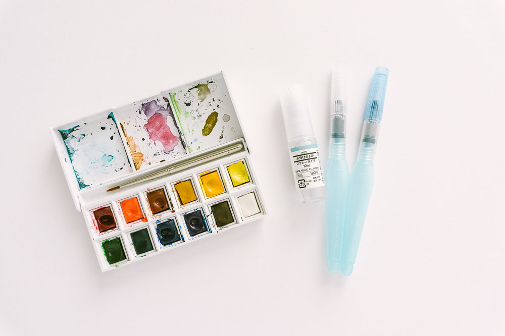 Winsor & Newton Cotman Pocket Watercolor Set w/ Muji Travel Spray Bottle and Pentel Water Brushes
