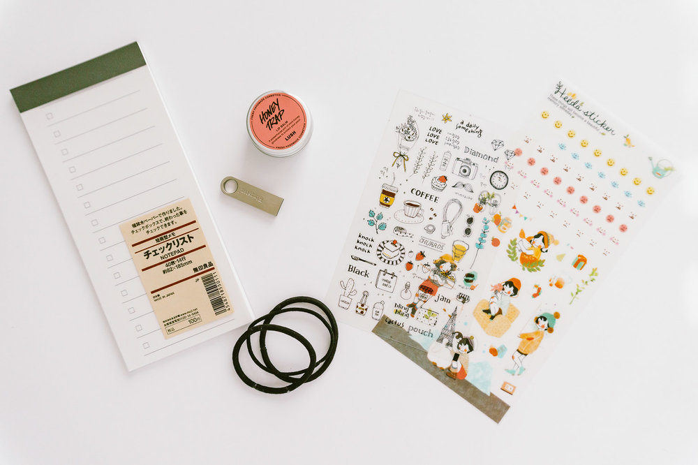 Memo Pad from Muji, Lip Balm from LUSH, Kingston USB, Stickers from Korea
