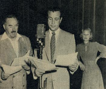 "From left to right: Mort Campion? as Chief Blonson williams, Lester Globes as Rock Handy, and Mary Polaski as Tina Plotkin. Believed to be from the 1948 live broadcast of episode 3, season 3, ""The Phantom Puppet"""