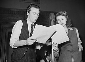 "From left to right: Carl Frawltie (NIX) and Lana Chowder (Dr. Gladys Casings) from the 1952 rocording session for the animated cartoon, ""Puppet Hunt"""
