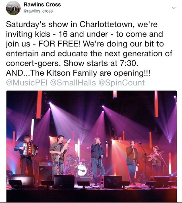 Come join Rawlins Cross in Charlottetown tomorrow night- and bring the kids!!! 🎉👏❤️
